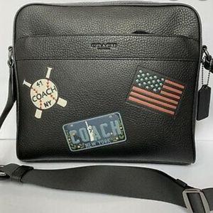 Coach Men Travel Patches Black Messenger Bag